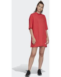 adidas Recycled Cotton Oversize T-shirt Jurk - Rood