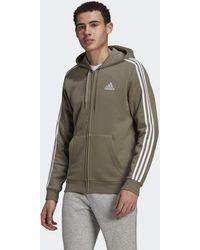 adidas Essentials Fleece 3-stripes Full-zip Hoodie - Green