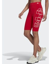 adidas Mid-waist Letter Short Tights - Red