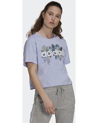 adidas T-shirt x FARM Rio Print Boyfriend Cropped Cotton Logo - Violet