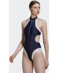 adidas By Stella Mccartney Truepurpose High Neck Swimsuit Collegiate Navy - Blue