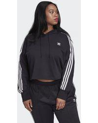adidas Cropped Hoodie (grote Maat) - Zwart