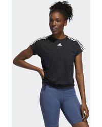 adidas 3-stripes Tie T-shirt - Zwart