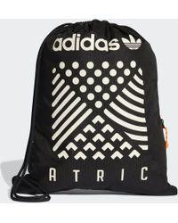 5b9080e212 Lyst - Adidas Originals Steel Grey   White Fat Stripe Sack Pack in Black