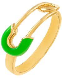ADINAS JEWELS Enamel Safety Pin Ring - Green