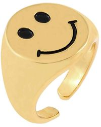 ADINAS JEWELS Smiley Face Ring - Metallic