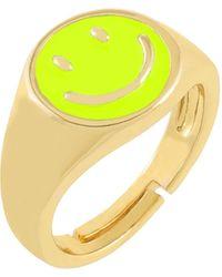 ADINAS JEWELS Neon Enamel Smiley Face Adjustable Ring - Yellow