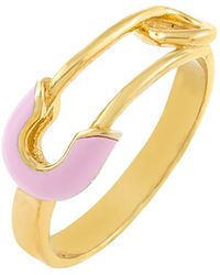 ADINAS JEWELS Enamel Safety Pin Ring - Metallic