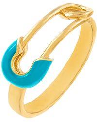 ADINAS JEWELS Enamel Safety Pin Ring - Blue