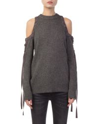Kendall + Kylie - Cold Shoulder Lace Up Sweater - Lyst