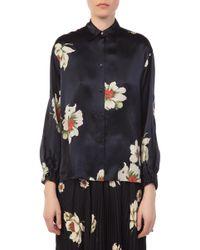 Vince - Gardenia Floral Tie Sleeve Blouse - Lyst