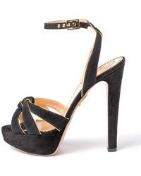 Charlotte Olympia - It Girl Nappa Black Suede Metallic Sandals - Lyst