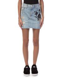 Rag & Bone - Dive Embroidered Denim Skirt - Lyst
