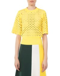 Derek Lam - Cropped Short Sleeve Yellow Top - Lyst