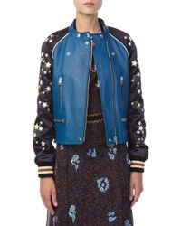 COACH - Cityscape And Stars Leather Moto Jacket - Lyst