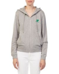 Courreges - Grey Zip Hoodie Sweater - Lyst