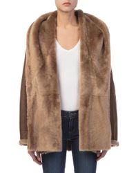 Vince - Reversible Shawl Collar Shearling Coat - Lyst