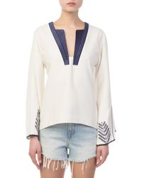Zeus+Dione - Tinos Silk Embroidered Blouse - Lyst