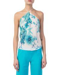Roberto Cavalli - Floral Woven Silk Top - Lyst