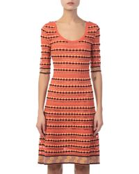M Missoni - Half Sleeve Orange Mini Dress - Lyst
