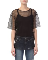 Helmut Lang - Courtney Fishnet Black Shirt - Lyst