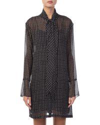 Theory - Tie-neck Dot Silk Dress - Lyst