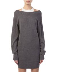 T By Alexander Wang - Layered Charcoal And White Knit Dress - Lyst