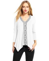 Adrianna Papell | Three Quarter Sleeve Hanky Hem Top With Embroidery Petite-regular | Lyst