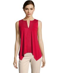 Adrianna Papell | Embroidered Tank Top With Keyhole Neckline Petite-regular | Lyst