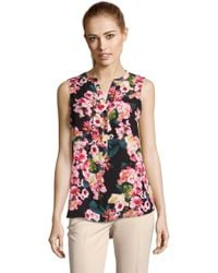 Adrianna Papell | Sleeveless Printed Top With Button Down Front Petite-regular | Lyst