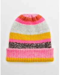 American Eagle Striped Ribbed Beanie Hat - Pink