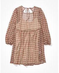 American Eagle Printed Babydoll Dress - Dresses - Brown