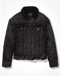 American Eagle Sherpa Lined Denim Jacket - Outerwear - Men - Black