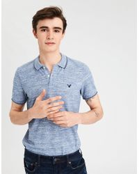 American Eagle - Ae Tipped Stretch Pique Logo Polo - Lyst