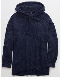 American Eagle Oversized Open Road Sweater Hoodie - Blue