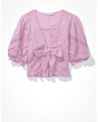 American Eagle Puff-sleeve Tie-front Blouse - Multicolour