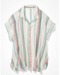 American Eagle Short-sleeve Button-up Shirt - Multicolour