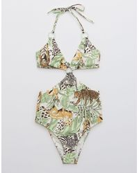 American Eagle Printed Cut Out Ring One Piece Swimsuit - Green