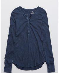 American Eagle Ribbed Henley Long Sleeve T-shirt - Blue