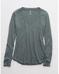 American Eagle Long Sleeve V-neck T-shirt - Gray