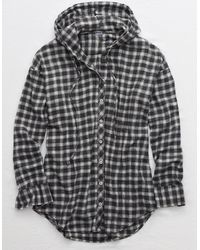 American Eagle Flannel Hooded Shirt - Gray
