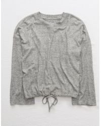 American Eagle Plush Drapey Sweatshirt - Gray