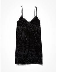 American Eagle Lace Slip Mini Dress - Black