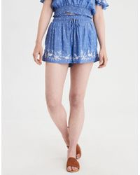 American Eagle - Ae Embroidered Smocked Short - Lyst