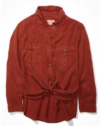 American Eagle Oversized Military Button Up Shirt - Red