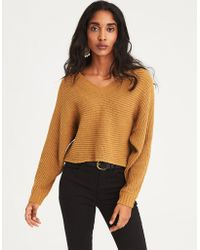 American Eagle - Ae Chenille V-neck Cropped Sweater - Lyst