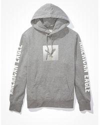 American Eagle Super soft graphic fleece hoodie - Grau