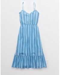 American Eagle Tiered Midi Dress - Blue