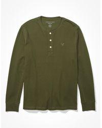 American Eagle Thermal henley shirt - Grün