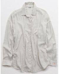 American Eagle Woven Button Down Shirt - Gray
